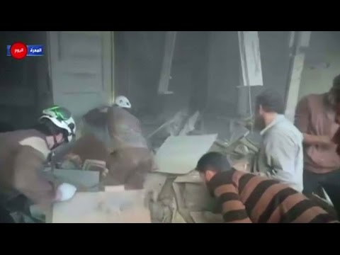 Russian air strikes in the Syrian province of Idlib