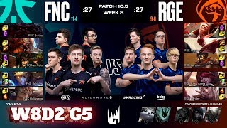Fnatic vs Rogue | Week 8 Day 2 S10 LEC Spring 2020 | FNC vs RGE W8D2