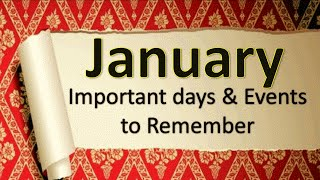 January Important days and events | General Knowledge