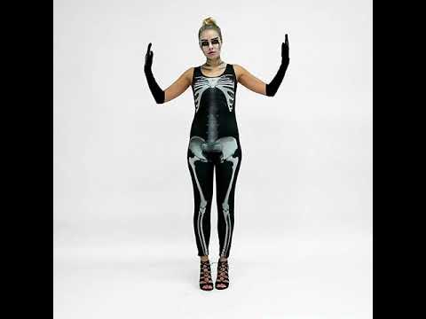 Frauenkostüm sexy Skelett Jumpsuit | dressforfun