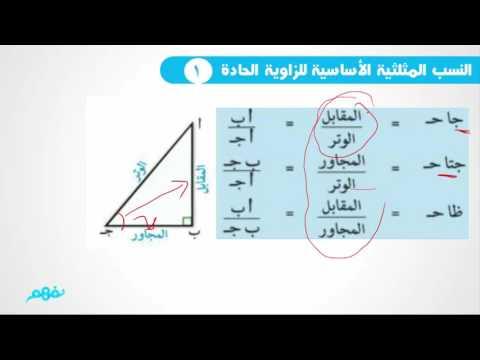 النسب المثلثية الأساسية للزاوية الحادة - الرياضيات - للصف الثالث الإعدادي - الترم الأول - نفهم