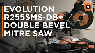 Evolution R255SMS-DB+ 255mm Double Bevel Sliding Mitre Saw and Stand unboxing and testing