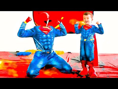 pretend play SUPERHERO SUPERMAN & THE FLOOR IS LAVA family fun playtime with Elias