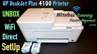 HP DeskJet Plus 4100, Unbox, SetUp, Wireless Scanning Tutorial, SetUp Ink, Alignment !!