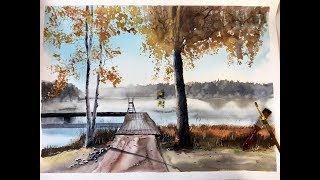 Fall landscape in watercolor - YouTube
