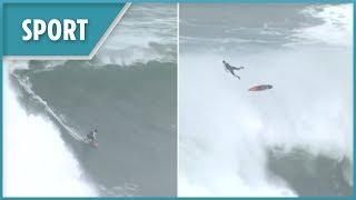 Huge waves of Nazare sends surfer flying