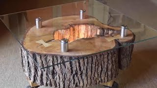Tree Stump Table with Glass Top - Woodworking Ideas DIY