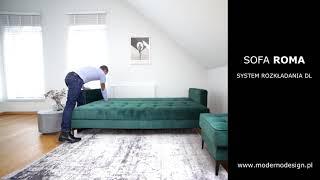 Sofa Roma z funkcją spania, system rozkładania DL, system DL