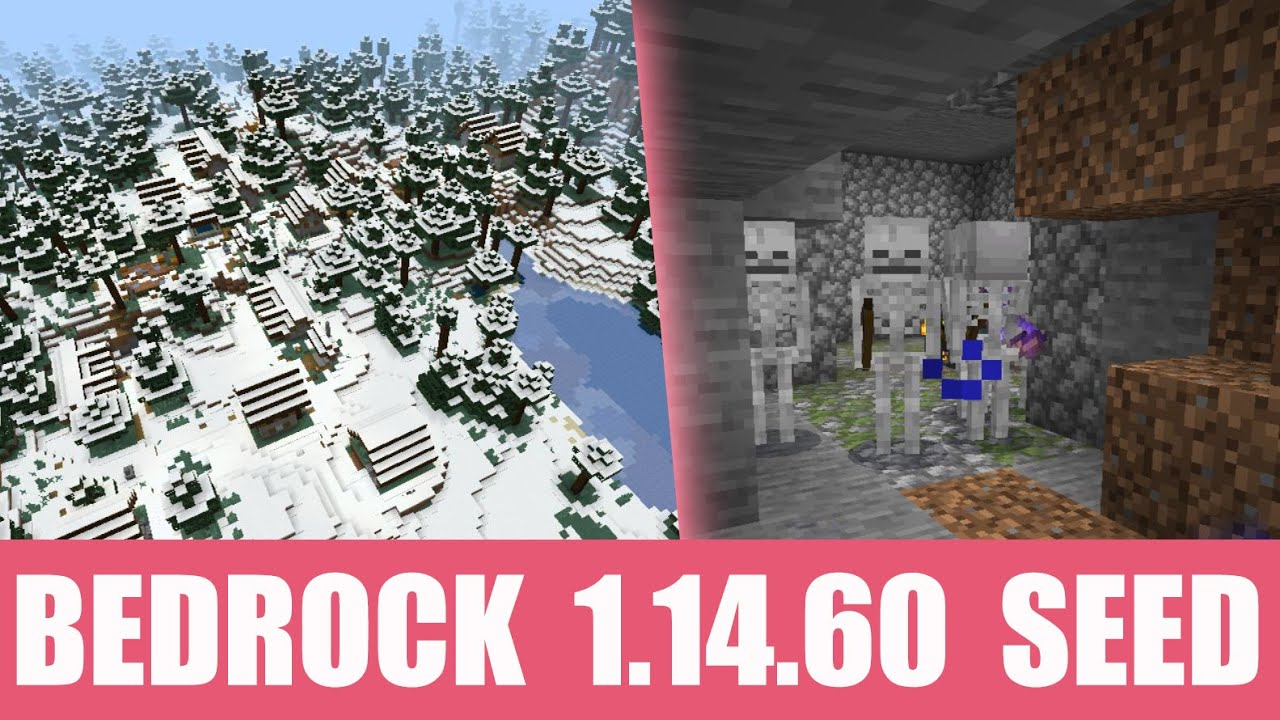 Minecraft Bedrock 1.14.60 Seed: Stronghold and skeleton dungeon right under big snow village MINECRAFT SEED -547777502