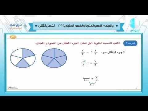 السادس الابتدائي| الفصل الدراسي الثاني 1438/ رياضيات | النسب المئويةوالكسور الاعتيادية2-2
