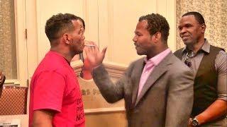Shane Mosley vs. Ricardo Mayorga crazy staredown! Shane smacks Mayorga's cigarette