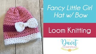 Loom Knitted Fancy Little Hat with Bow