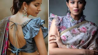 Latest Frills And Pleats Neck And Sleeve Saree Blouse Designs/New Sleeve And Neck Designs For Blouse