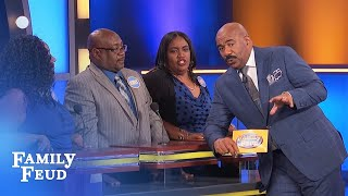 FUNNY CLIP! Say THAT again Derrick?   Family Feud