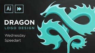 Illustrator Speedart : Dragon Logo Design Process