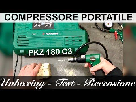 Nuovo COMPRESSORE portatile PARKSIDE. Di cosa è capace? PKZ 180 C3. UNBOXING TEST E RECENSIONE.