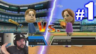MY WII BASEBALL DEBUT! | Wii Sports Baseball #1