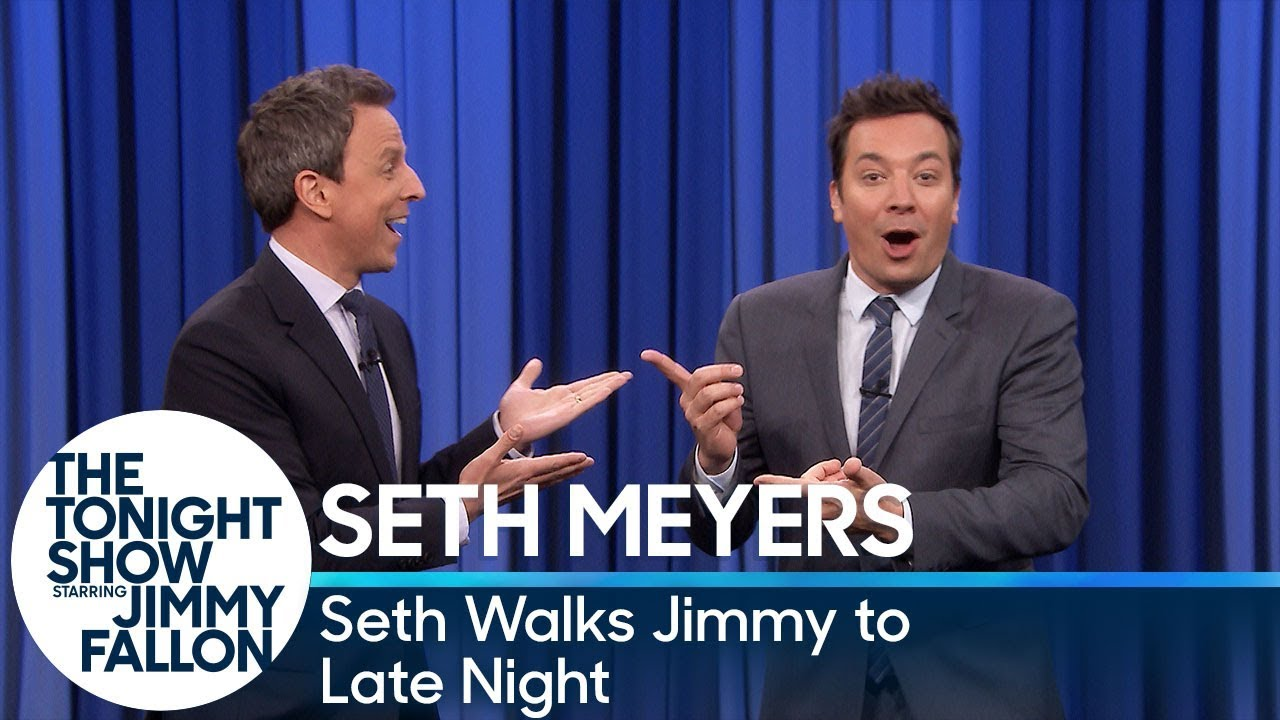 Seth Meyers Walks Jimmy Fallon to Late Night's Set for an Interview After Tonight Show thumbnail