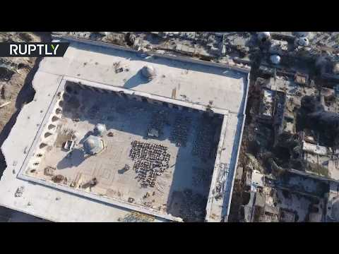 Drone footage captures Chechnya-funded restoration work at Aleppo's Great Mosque