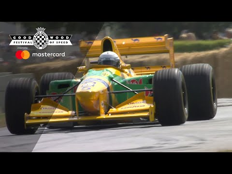 Riccardo Patrese drives Michael Schumacher's F1 Benetton-Ford B193 at Festival of Speed