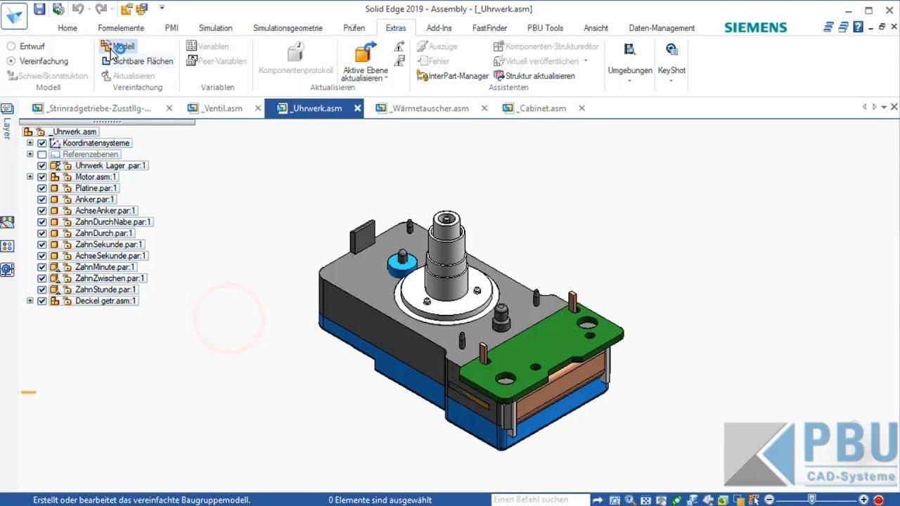 Vorschaubild: Solid Edge Tutorial: Automatische Vereinfachungen