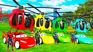 COLOR MCQUEEN Helicopter on BUS and Spiderman Cars Cartoon for babies with Superheroes for kids!