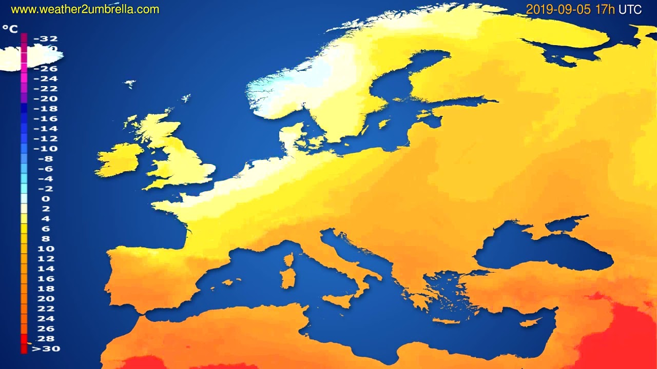 Temperature forecast Europe // modelrun: 00h UTC 2019-09-04