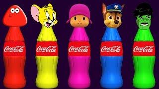 Wrong Heads Bottles Pou Jerry Pocoyo Paw Patrol Hulk Finger Family Colors Learn