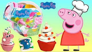 Chef Pig Makes Cupcake Decorations From Play-doh Playset