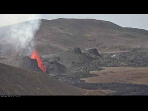 Incredible View of a Volcano in Iceland Erupting