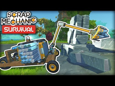 Building a Robot Arm for Resource Collection and Water Pumps! (Scrap Mechanic Survival Ep5)