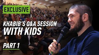 Khabib talks to kids about fighting, life and cucumbers
