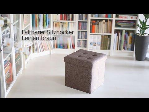 Faltbarer Sitzhocker aus Leinen mit Stauraum