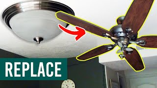 How to Replace a Light with a Ceiling Fan (Install a Ceiling Fan) - Step by Step