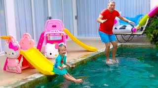 Milusik and papa pretend play with Waterslide