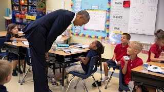 President Obama Talks with First-Graders at Tinker Elementary School