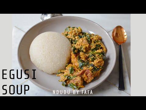 EGUSI SOUP WITH EBA RECIPE (NIGERIA)
