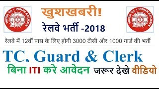 Railway Recruitment 2018 TC, GUARD, CLERK etc Upcoming Post || RRB Vacancy