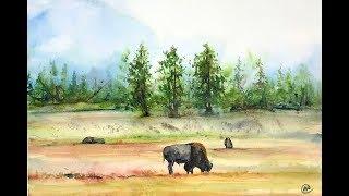 Watercolor Montana Landscape Painting Demonstration