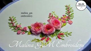 Roses embroidery| Looped blanked Rose |ЦВЕТОЧНАЯ ВЫШИВКА