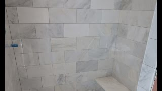 Marble Carrara Tile Bathroom Part 3 Close Up Look Installing Carrera And Bench Seat