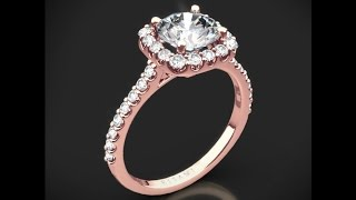 Ritani 1RZ1321 French Set Cushion Halo Diamond Engagement Ring in Rose Gold