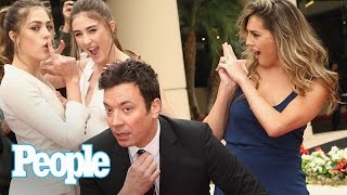 Jimmy Fallon & Sylvester Stallones Daughters Tease 2017 Golden Globes  People NOW  People