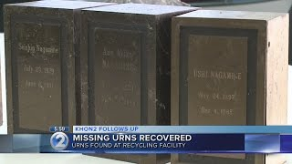 Urns stolen from Pearl City cemetery recovered at recycling center