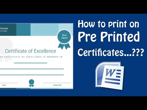 How to print on pre printed certificate using Microsoft Word - MS ...