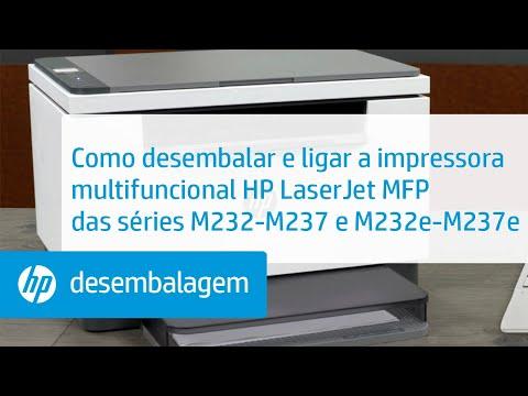 Desembalar e ligar a multifuncional HP LaserJet MFP das séries M232-M237 e M232e-M237e | HP LaserJet | HP