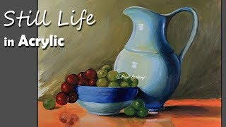 Realistic Still Life in Acrylic : Jug, Dish, Fruits painting step by step | Kholo.pk