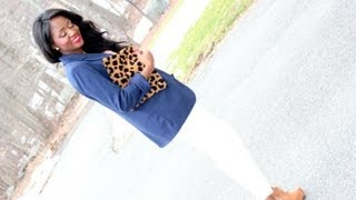 Maternity Fashion: Outfit Of The Day (OOTD): Navy Blue Jacket And Leopard Print Clutch