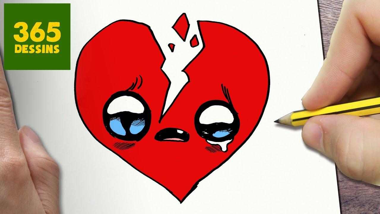 Video Comment Dessiner Coeur Brise Kawaii Etape Par Etape Dessins