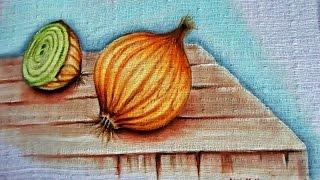 Pintando cebolas – Pintura em tecido